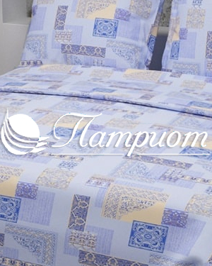 КПБ 1.5 спальный Арабеска, голубой, набивная бязь 125 гм2 356-1