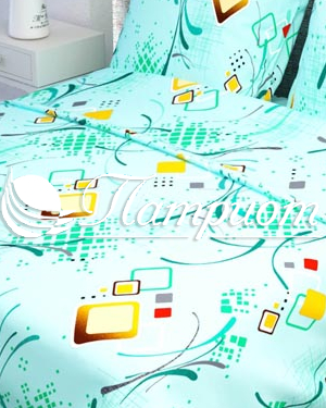 КПБ 1.5 спальный Вальс, голубой, набивная бязь 125 гм2 319-3