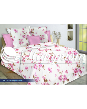 КПБ 1.5 спальный Сакура, розовый, набивная бязь 142 гм2 157-2