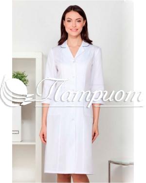 Халат медицинский женский «Модельный» ¾ ткань ТИСИ Модель 4