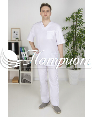 Костюм хирурга универсальны белый ткань ТИСИ Модель 3